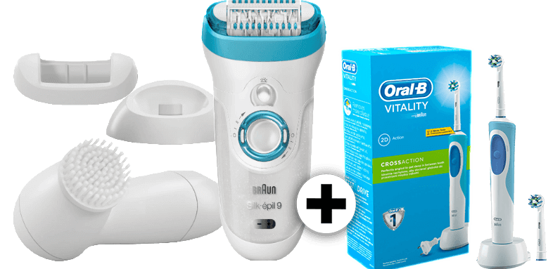 BRAUN Silk epil 9549 and Oral B Vitality Cross Action Blue