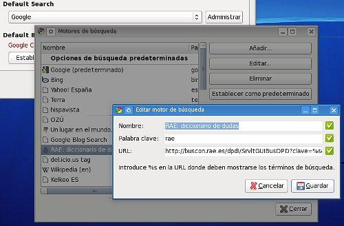 Eligiendo el motor de búsqueda en Chrome
