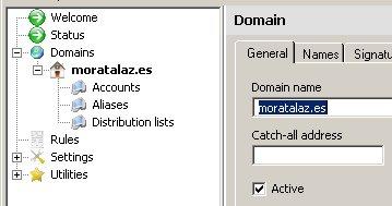 Añadiendo un dominio a hmailserver