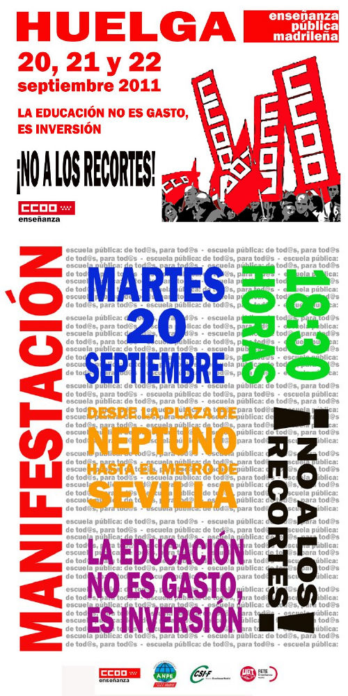 Huelga y manifestación contra los recortes en la enseñanza pública