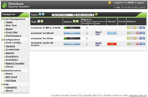 Pantalla principal de GSA, el cliente web de OpenVAS