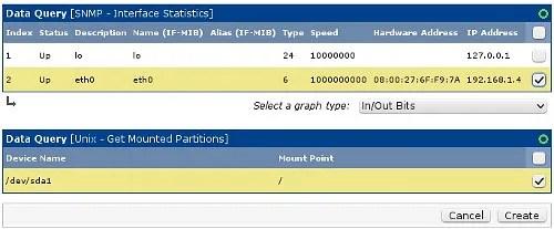 Añadiendo gráficos de SNMP en Cacti