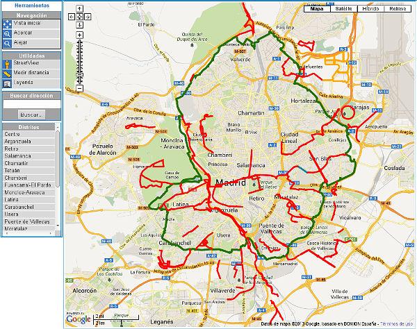 GIS Municipal con información de carriles bici en Madrid