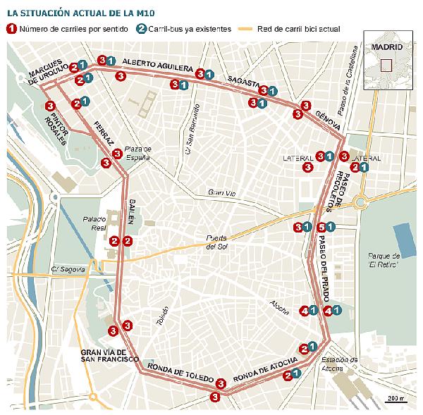 Plano del proyecto de la M10 en Madrid