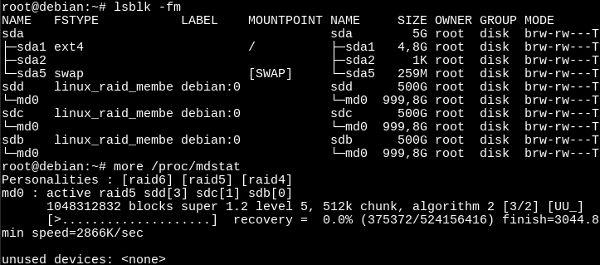 Comprobando el estado de un RAID5 recién creado con mdadm