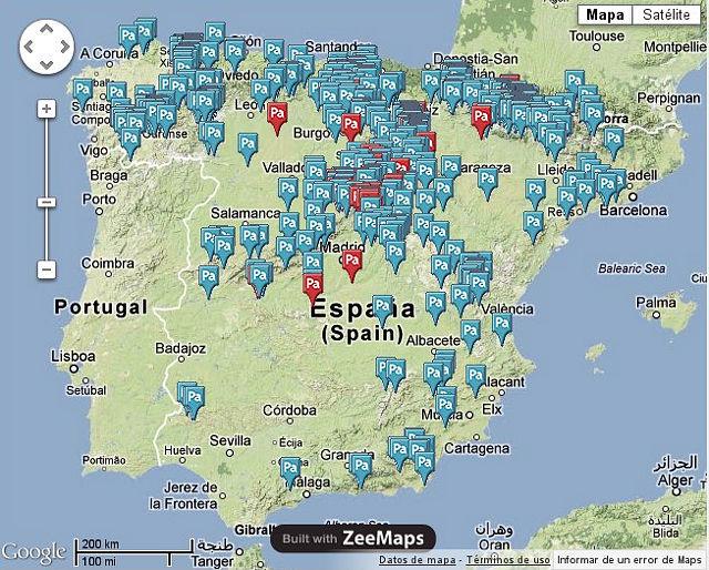 Mapa de pueblos abandonados en España.