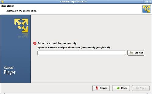 system service scripts directory error durante la instalación de vmware player en una derivada de Archlinux