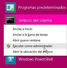 Ejecutando un intérprete de comandos con privilegios reales de administrador en Windows 8.1