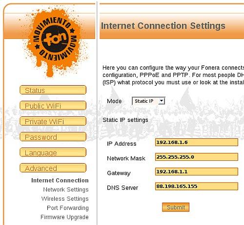 modificando la configuración de red