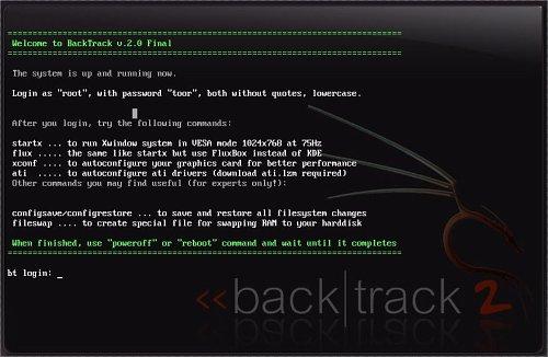 Pantallazo inicial de backtrack 2.0