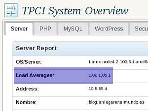 TPC Memory muestra el Load Average