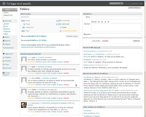 Pantallazo del wordpress 2.7 beta