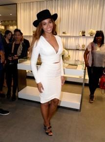 Beyonce in Black Hat White Dress