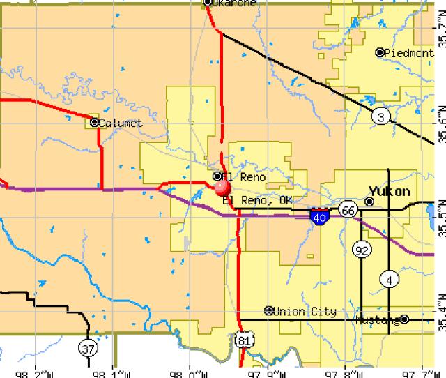 El Reno Ok Map