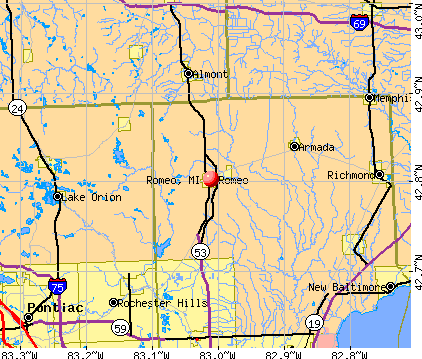 Romeo Michigan Mi 48065 Profile Population Maps Real