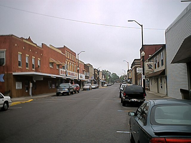 Medford WI  Main Street looking South Taken on 05222004  Rainy Day photo picture image