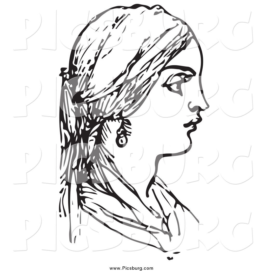 Clip Art Of A Woman In Black And White By Picsburg