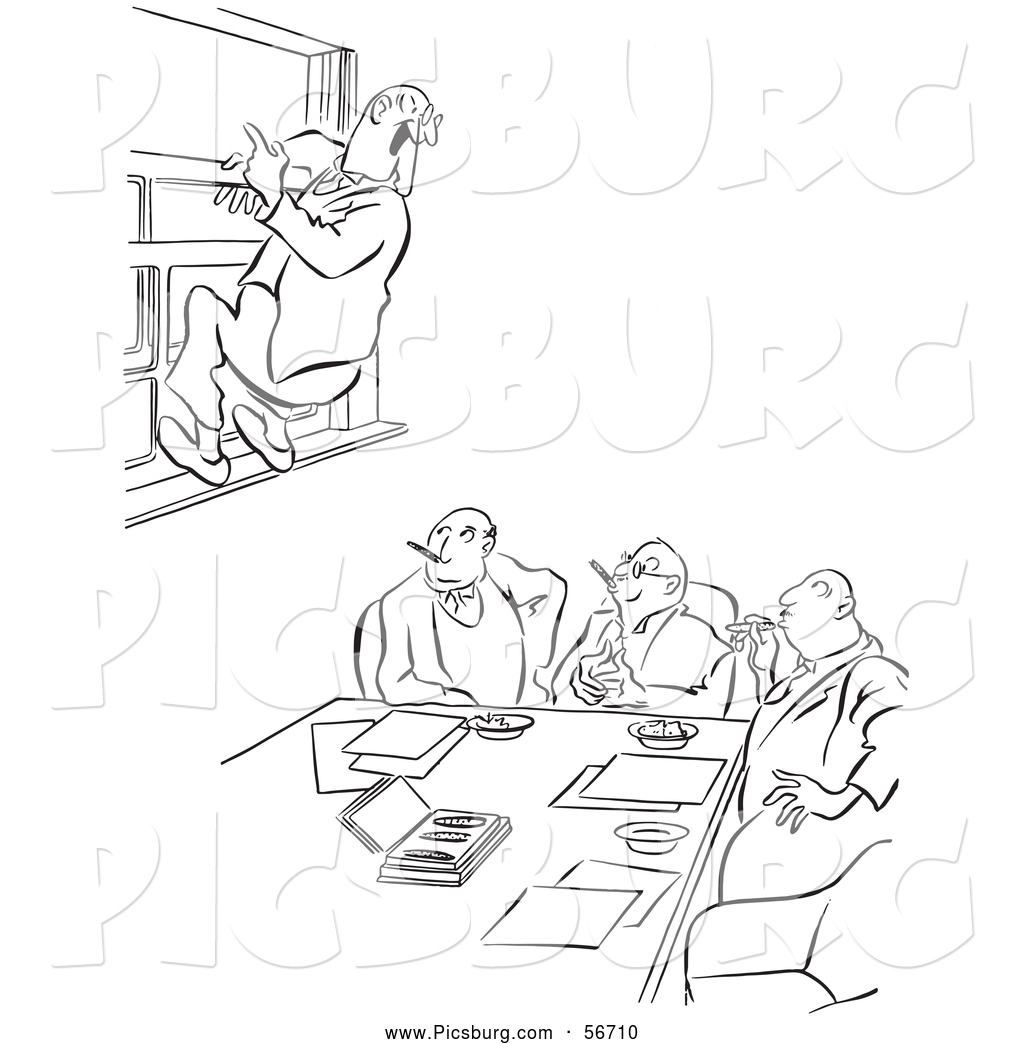 Clip Art Of An Old Fashioned Vintage Office Worker Man