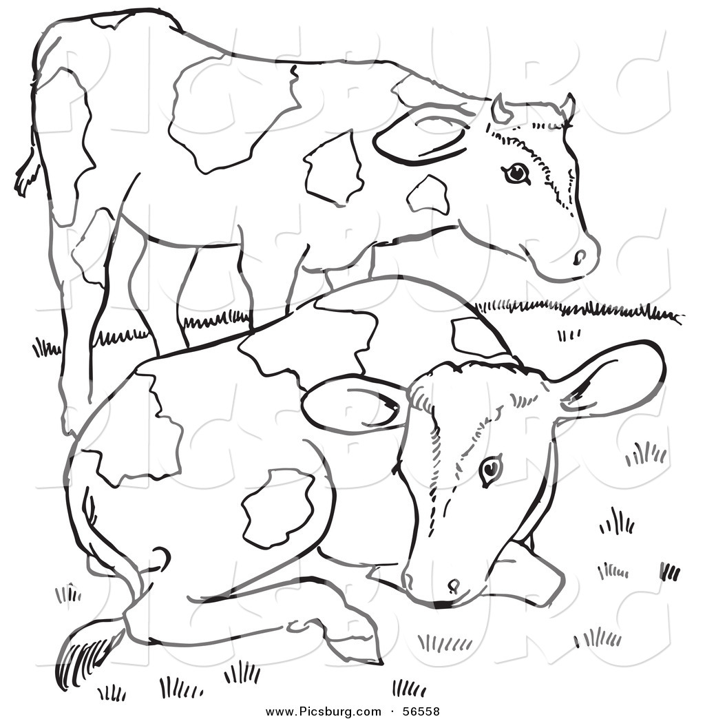 Clip Art Of Two Farm Cows On A Hill