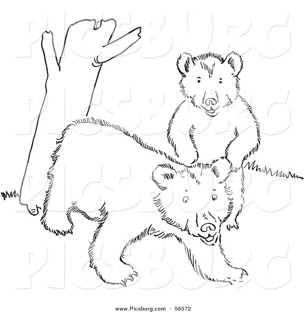 Clip Art Of Two Playful Bear Cubs Beside A Tree Trunk