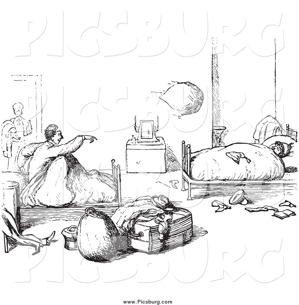 Clip Art Of Vintage Hotel Guests Waking Up In Black And