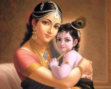 Little Baby Shree Krishna With Maiyyaa Yasodha Most Beautiful Janmashtami Day HD Wallpaper Images Pics