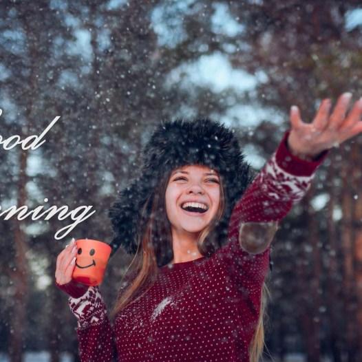 Beautiful Girl-Enjoying-Winter-Snow-Good-Morning-HD Wallpaper Happy Good Morning Adorable Girls HD Images PicsDownload