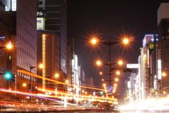 Car lights, Sapporo, Japan.