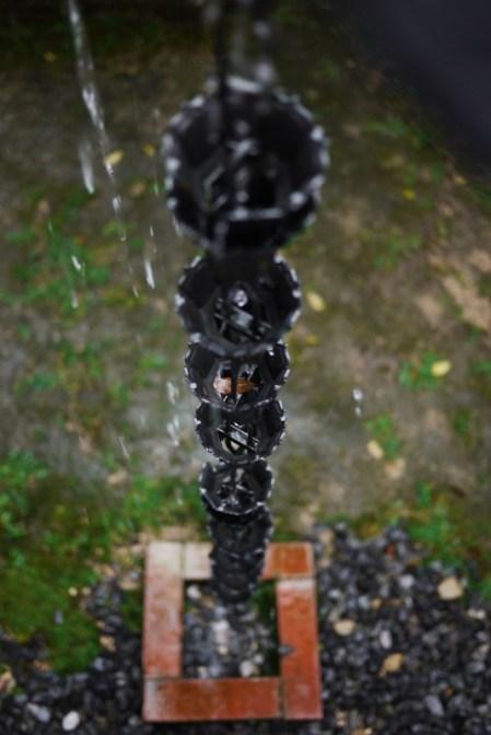 Raindrops over a gutter, Miyajima, Japan.