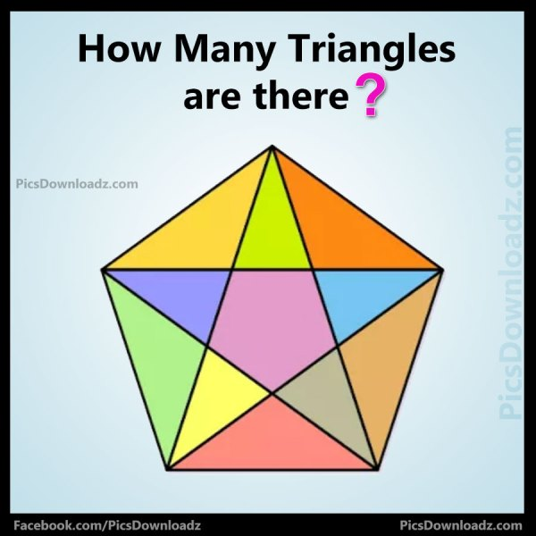 Maths Picture Puzzles - How Many Triangles Puzzle? Brain teasers Puzzles Image. Find Total Triangles Puzzle with answer, maths puzzles pics,tricky maths Puzzles.