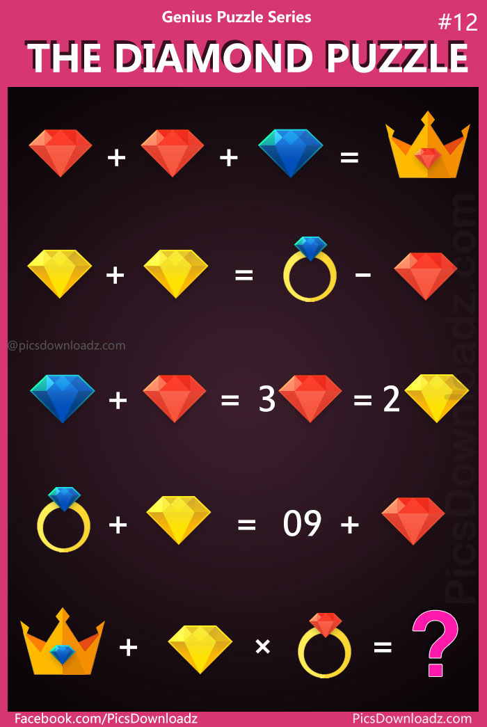 The Diamond Puzzle: 99% will fail to answer this logical brain teaser math puzzle. Most difficult logic puzzle with the correct answer! Can you solve this Diamond, Crownand Ring puzzle? Viral Math Puzzles, Tough logic math puzzles. Difficult brain teasers puzzles.