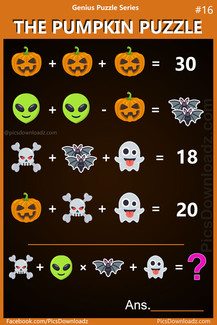 The Pumpkin Puzzle: Genius Puzzle Series #16 Viral Math Puzzles. Difficult and Hard Math Puzzles Images. Brain teasers for kids and adults.
