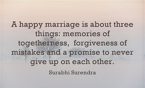 A happy marriage is about three things memories of togetherness forgiveness of mistakes and a promise to never give up on each other. Surabhi Surendra