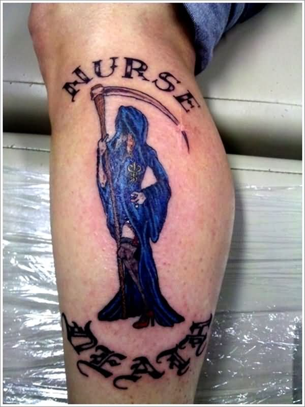 Amazing Blue Ink Grim Reaper With Nurse Death Tattoo On Calf Leg