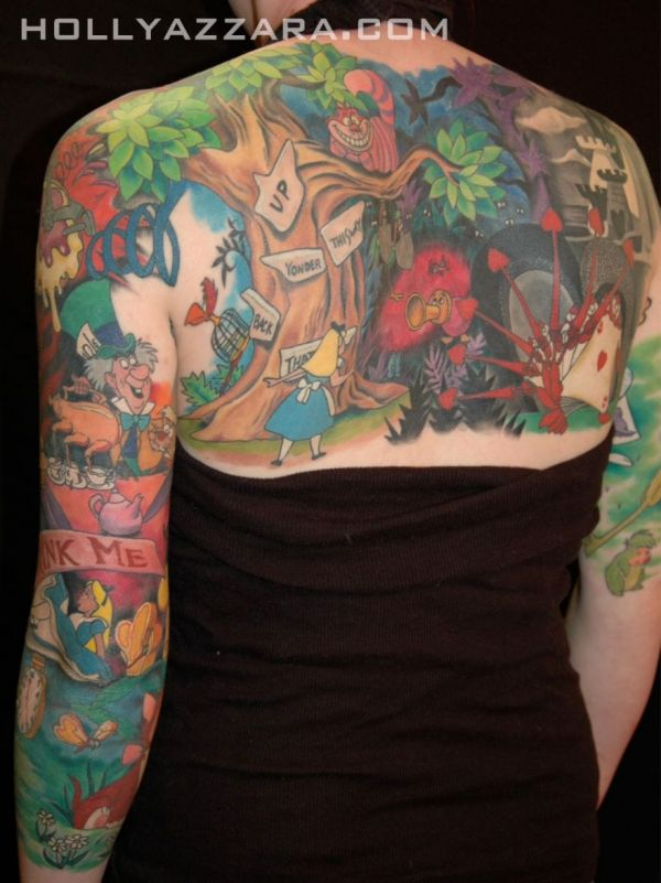 Amazing Colorful Animated Cartoon Tattoo Design For Women Upper Back And Sleeve