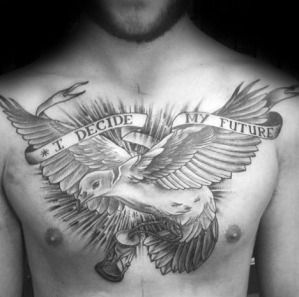 Amazing Grey Ink Bird Feather And Banner Tattoo For Men Chest