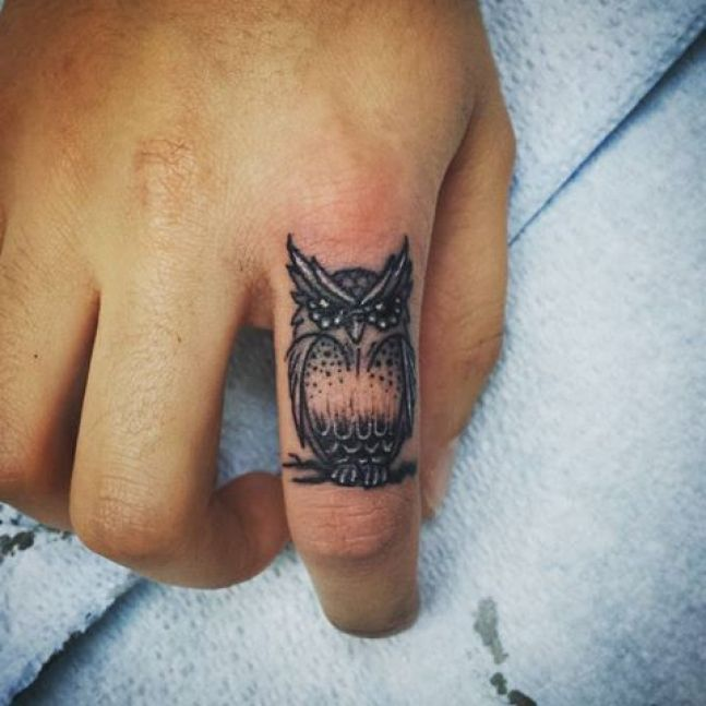 Amazing Scary Grey Ink Wild Owl Tattoo For Men Index Finger