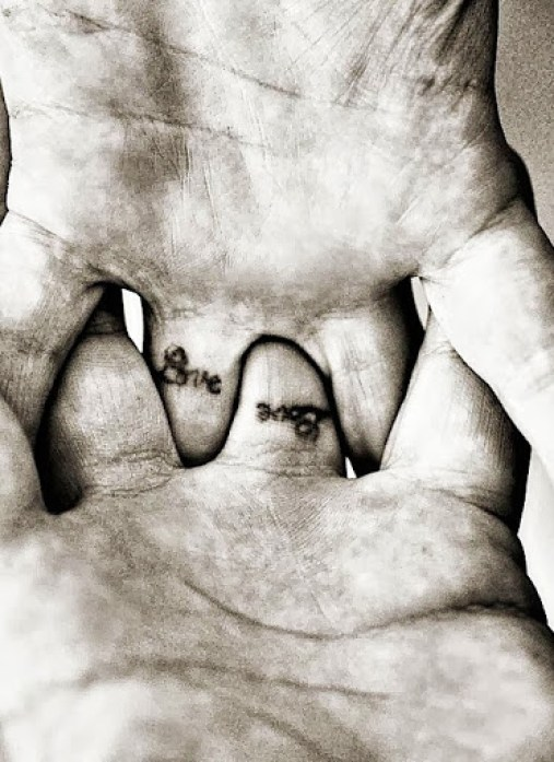 Amazing Small Love Balck Ink Finger Tattoo For Cool Men