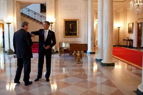 At The Entrance Hall Inside The White House President Barack Obama During Laughing