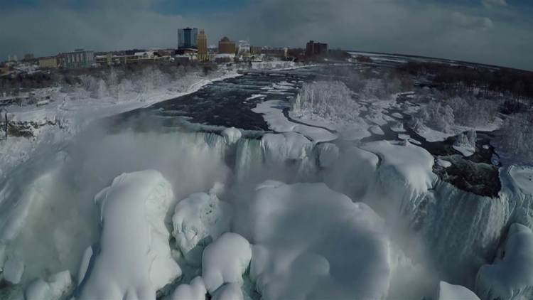 Attractive Frozen Niagara Falls With Sky Awesome Background