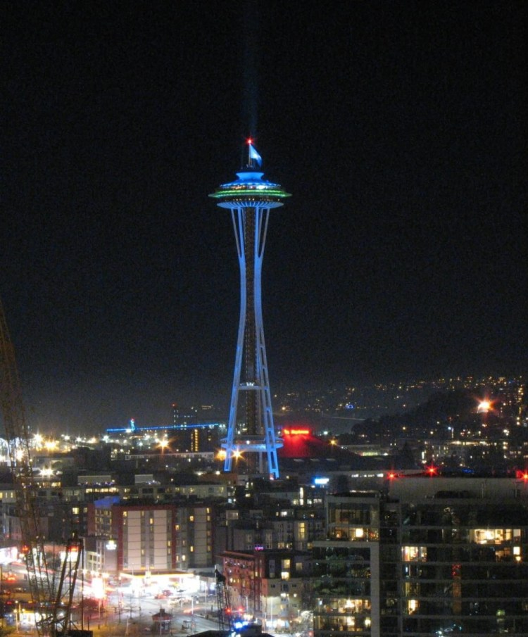 Awesome Blue And Green Lights On Space Needle At Night For Night Wallpaper