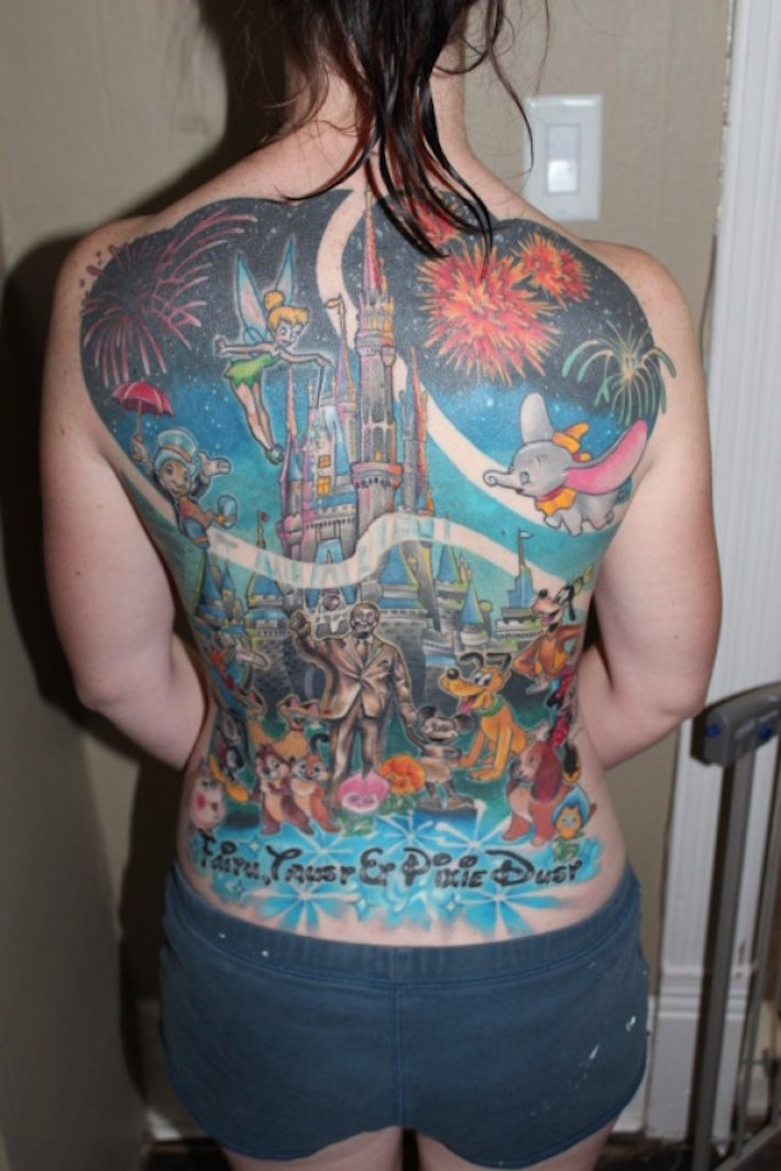 Awesome Colorful Ink Animated Disney Castle Tattoo For Women Back
