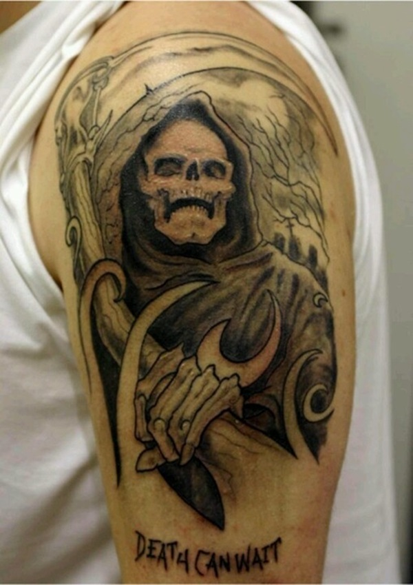 Awesome Grim Reaper Death Can Wait Grim Reaper Tattoo For Men Shoulder