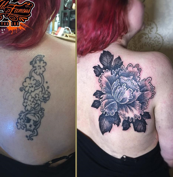 Awesome Rose Cover Up Back Tattoo With Black Ink For Man And Woman