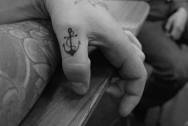 Awesome Small Anchor Rope Tattoo On Men Thumb