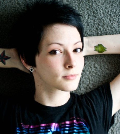 Beautiful Girl With Android Logo Tattoo On Arm