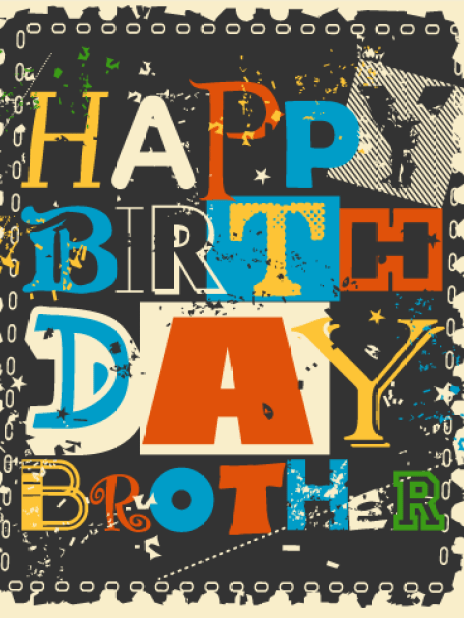 Black Color Birthday Greeting Card For Brother
