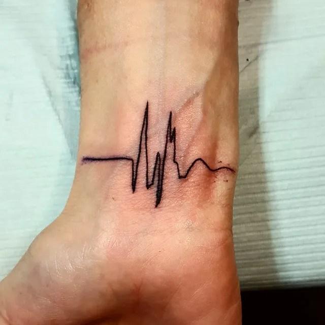 Black Ink Amazing Heartbeat Tattoo For Men Wrist