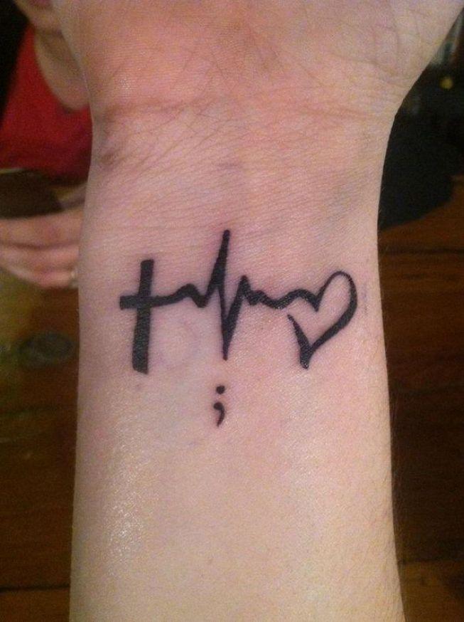 Black Ink Cross Ekg Heart Heartbeat Tattoo For Men Wrist