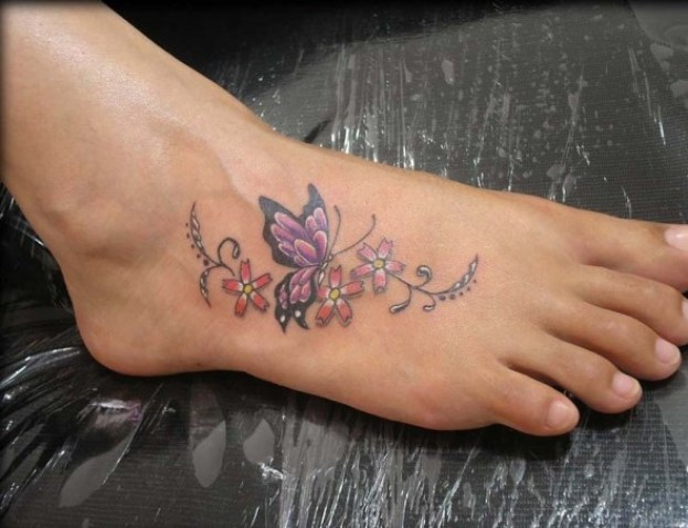 Charming Red Black And Yellow Color Ink Sweet 3D Butterfly With Flower Tattoos On Girls Foot For Girls Only